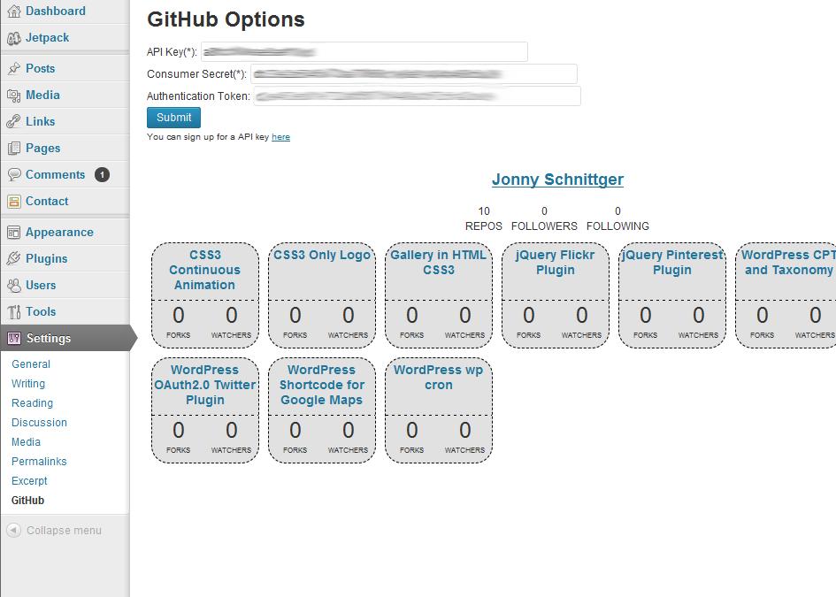 Пример интеграции GitHub и WordPress (GitHub Plug-in for WordPress, EN)