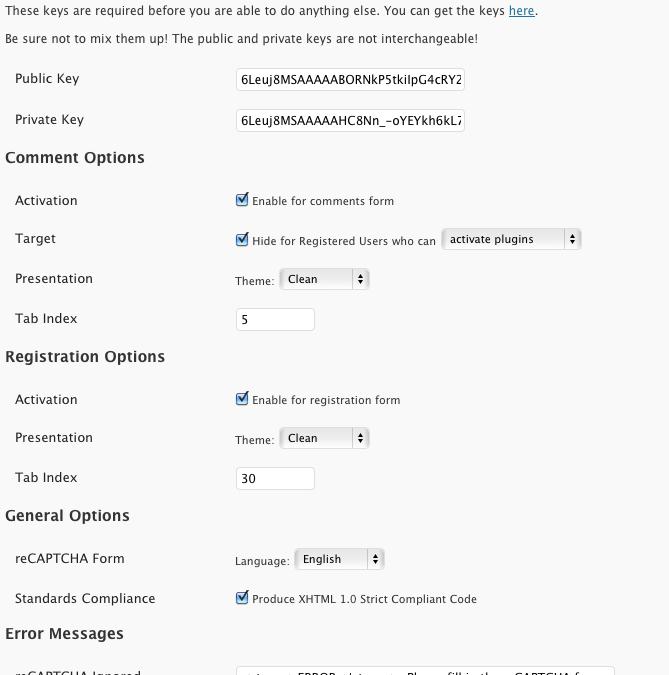 WP-reCAPTCHA — защита от спама при регистрации и в комментариях