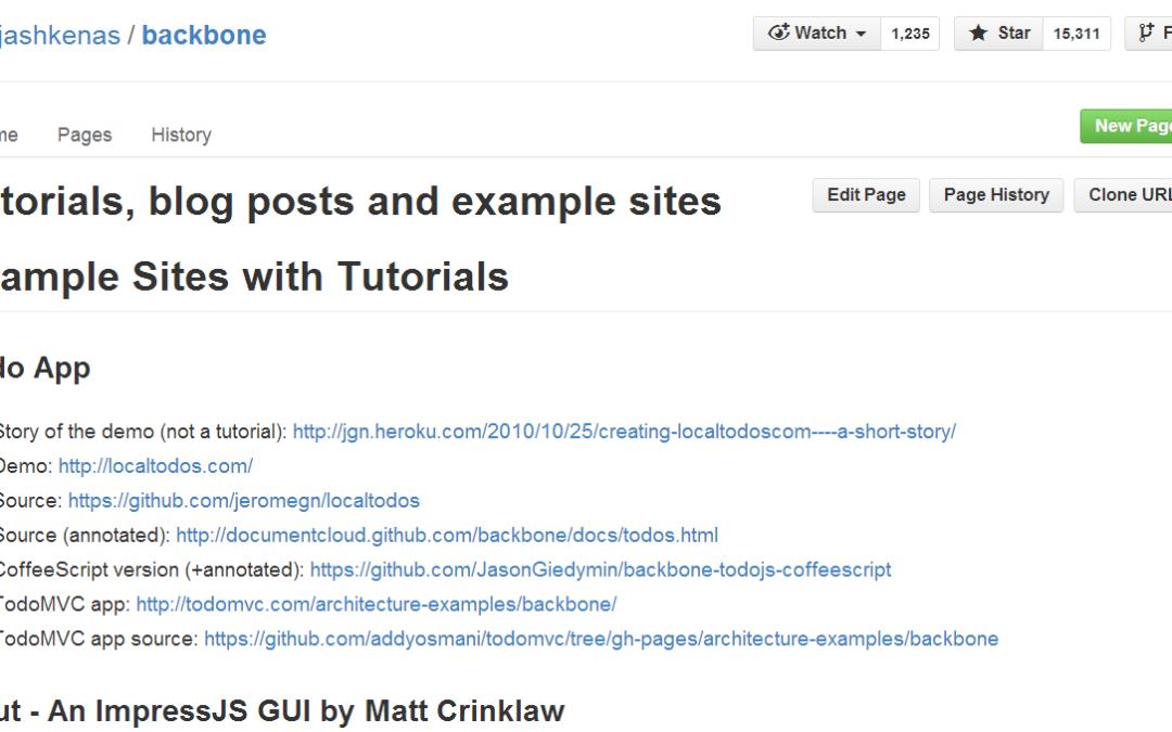 Backbone. Статьи, примеры приложений, учебники (EN)