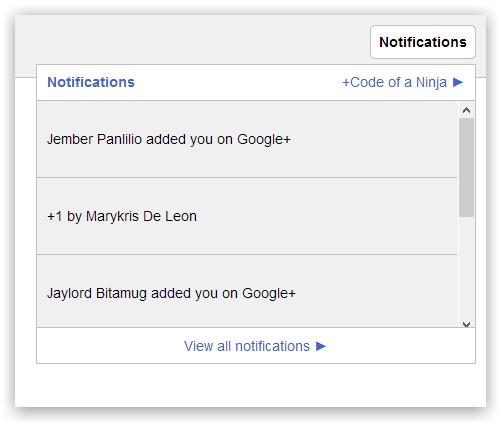 Система уведомлений как в Google Plus