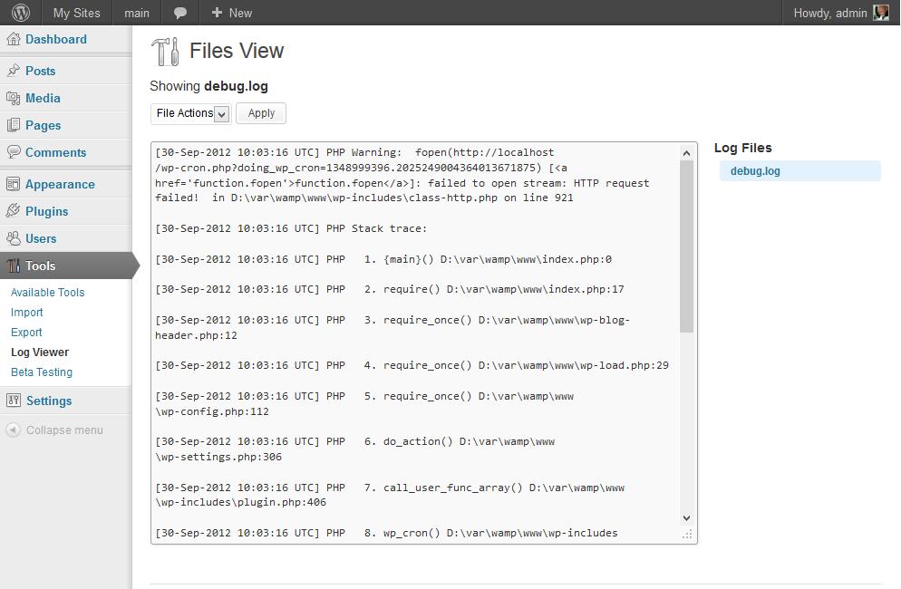 Log Viewer — простой способ просмотреть лог файлы WordPress