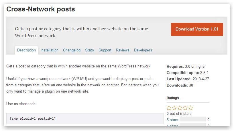 Cross-Network posts (кроспостинг между сайтами сети WP)