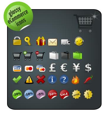 Glossy Ecommerce Icons — иконки для интернет коммерции