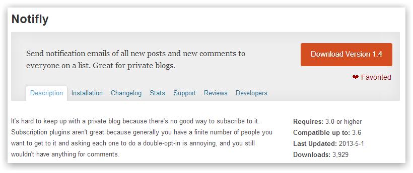Notifly — уведомление о новых постах или комментариях по списку почтовых адресов