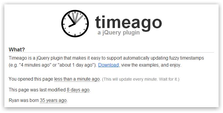 timeago — jQuery плагин показывающий относительное время от текущего момента