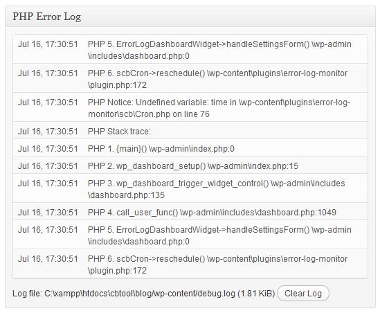 Error Log Monitor — виджет в консоль для отслеживания php-лога уведомлений и ошибок