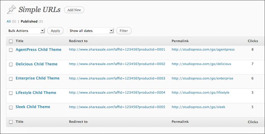 Simple URLs — плагин для упрощения ссылок, с подсчетом кликов