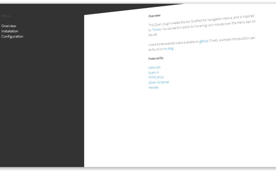 Box Lid Menu — боковое меню с 3D эффектом