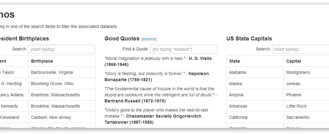 Sieve jQuery Plugin — интерактивный поиск по различным элементам на странице