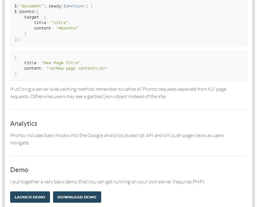 Pronto — быстрая загрузка страниц (HTML5 + jQuery + AJAX)