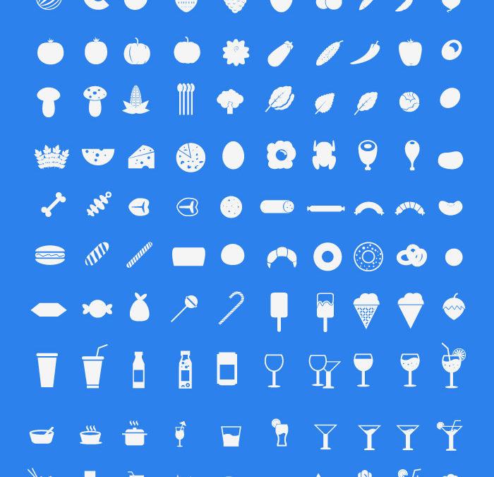 200 иконок на тему продуктов питания