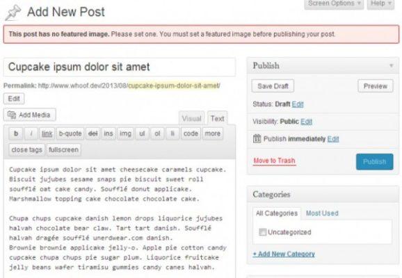 Требование добавить миниатюру перед публикацией в WordPress