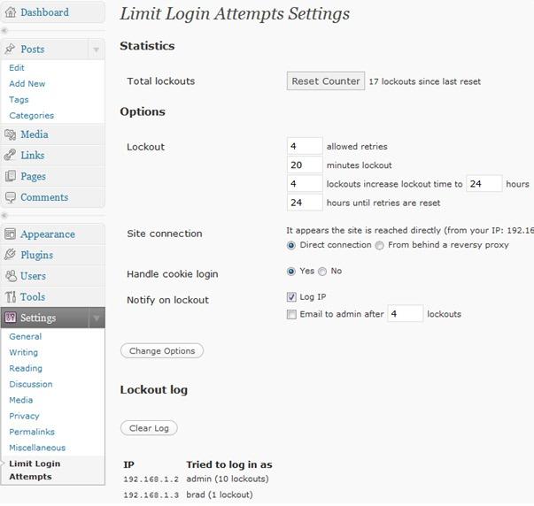 Limit Login Attempts — защита от атак методом брутфорса