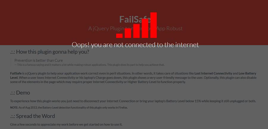 FailSafe — уведомления об обрыве Интернет на веб странице