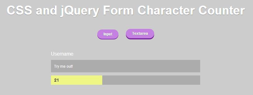 CSS and jQuery — считаем количество символов в поле ввода