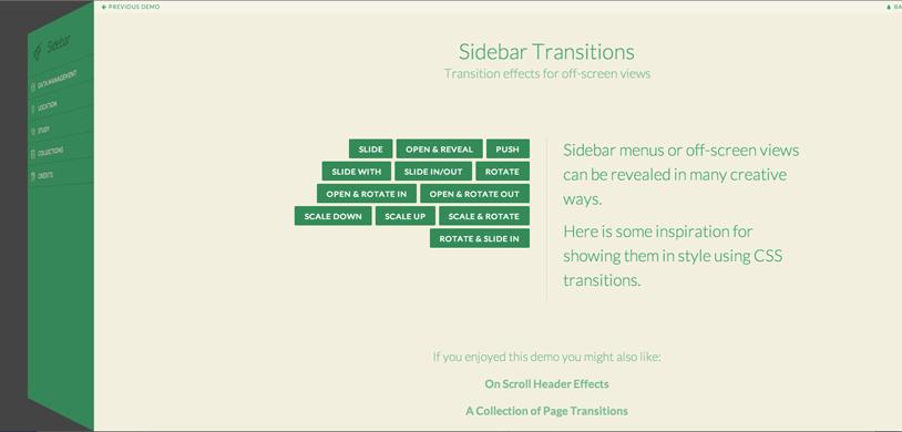Анимационные переходы для сайдбара (боковой панели)
