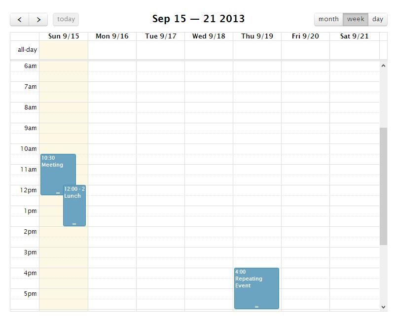 FullCalendar — плагин jQuery для создания календаря