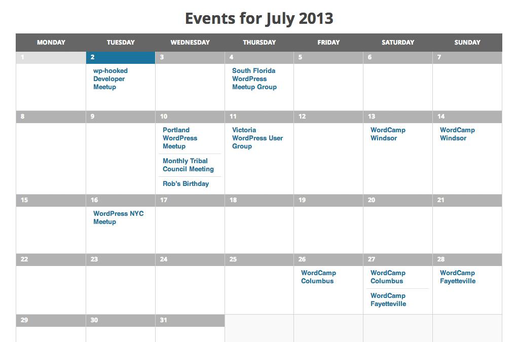 The Events Calendar — расширение для создания системы событий и мероприятий с расписанием