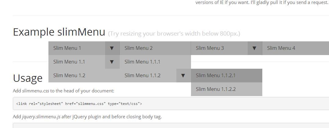 slimMenu — компонент для построения адаптивного меню