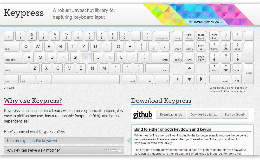 Keypress — библиотека для отслеживания нажатий клавиш