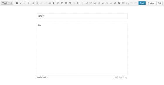 Just Writing — расширение для панели инструментов редактора WordPress в полноэкранном режиме