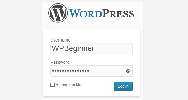 Скрытие и отображение пароля на экране входа в консоль WordPress