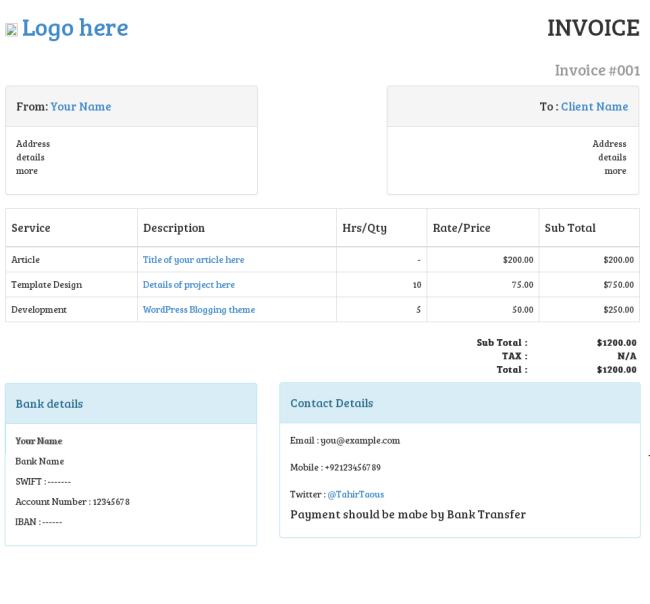 Пример реализации печатной формы счет на базе php, bootstrap 3 & Google Chrome