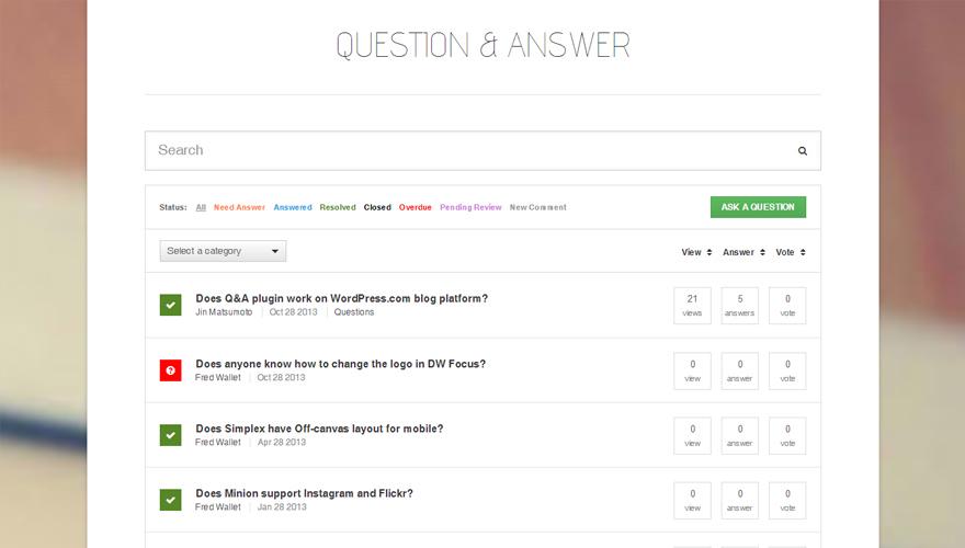 DW Question & Answer — плагин WordPress для создания раздела вопросов и ответов