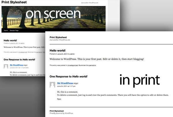 Добавление простой стилевой таблицы для печати в WordPress