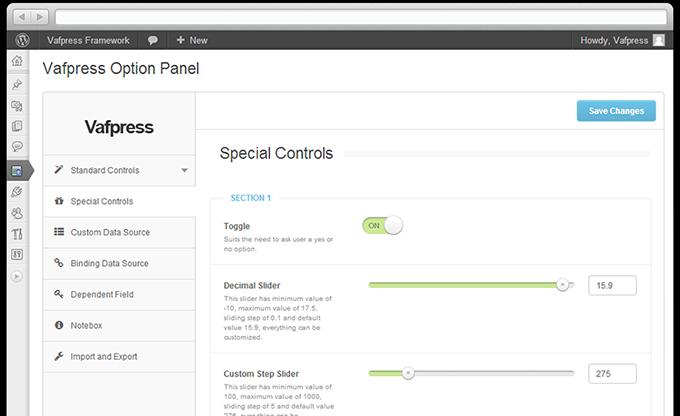 Vafpress Framework — платформа для опций темы