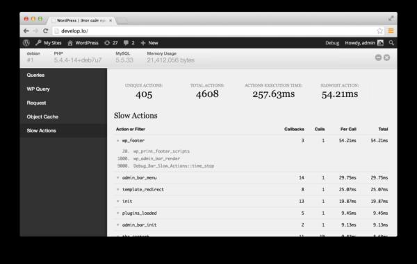 Debug Bar Slow Actions — покажет медленные хуки на сайте WordPress