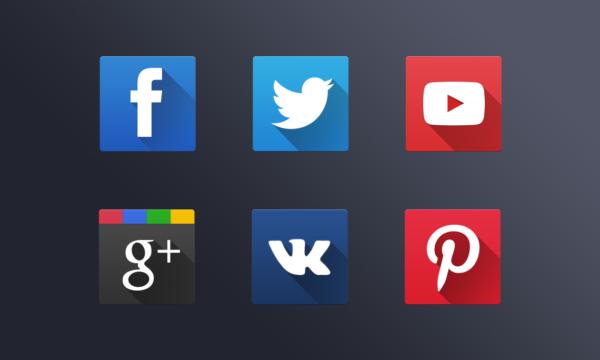 Подборка плоских иконок социальных сетей, включая ВКонтакте