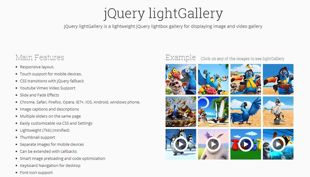 jQuery lightGallery — создание галлереи из фото и видео