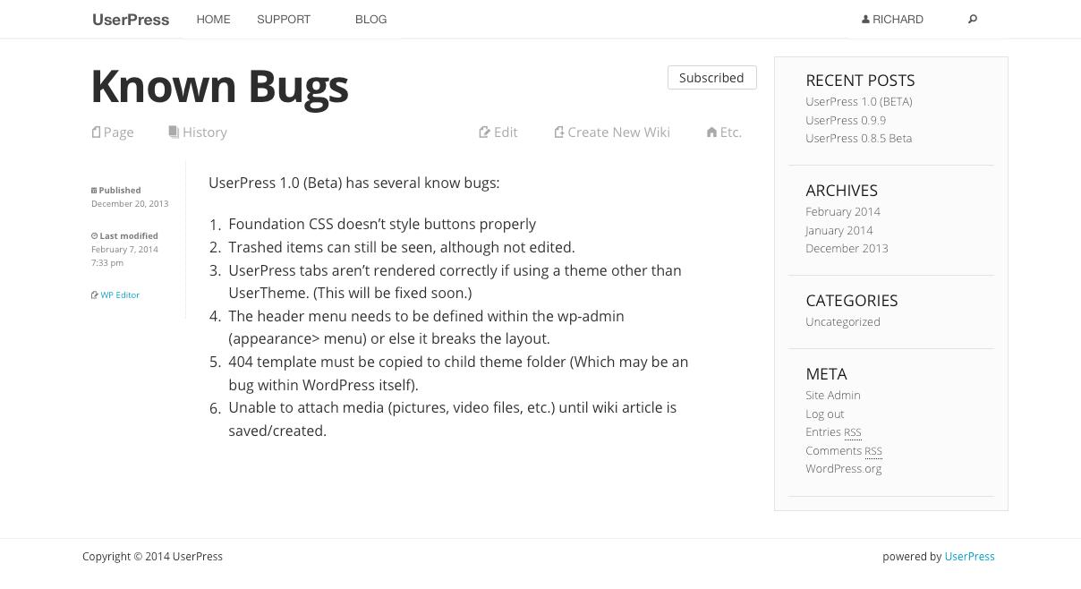 UserPress: новый Wiki-плагин для WordPress, BuddyPress и bbPress