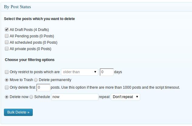Bulk Delete — массовое удаление постов в WordPress по различным параметрам