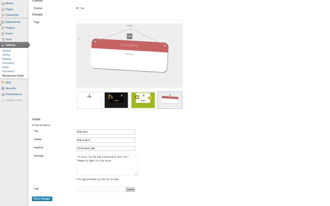 Easy Pie Maintenance Mode — режим обслуживания для сайта на WordPress