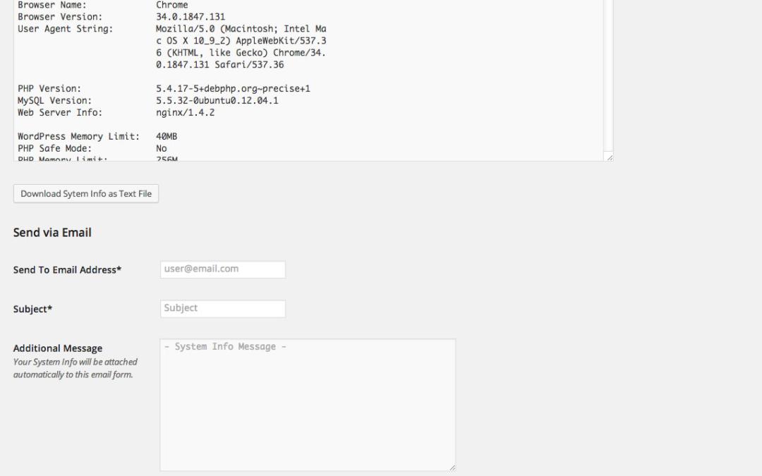 Send System Info — очень удобный плагин для сбора информации об окружении WordPress для диагностики