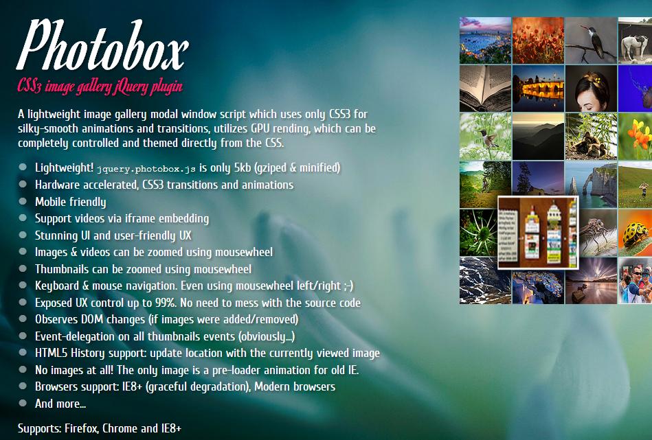 Photobox — крутая и быстрая галлерея фотографий и видео на основе CSS3 & jQuery