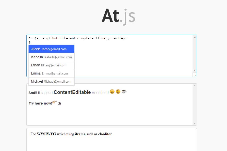 At.js — плагин jQuery для автоматической подстановки и автозаполнения имени пользователя через собаку (at, @)