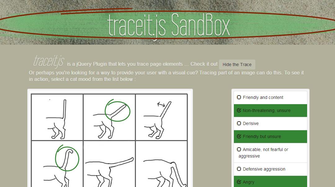 traceit.js — плагин jQuery, который позволяет обводить различные элементы на странице