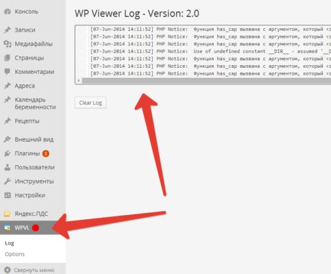 WP Viewer Log — простой и удобный плагин для просмотра лога ошибок WordPress прямо из консоли