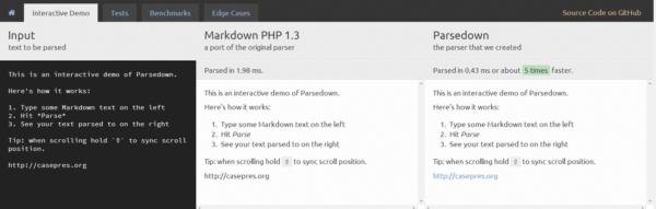 Parsedown — быстрый php-парсер Markdown  синтаксиса