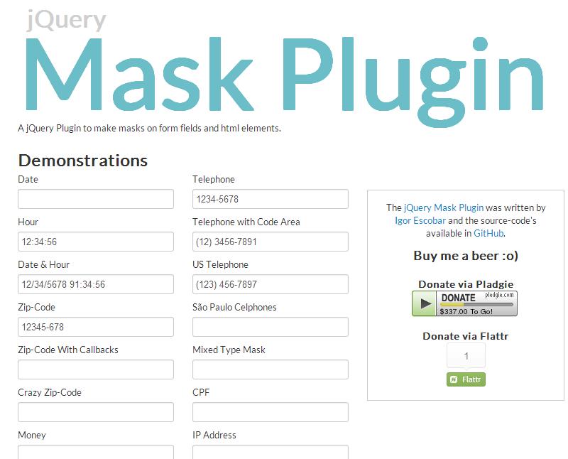 jQuery Mask Plugin — плагин для создания масок ввода