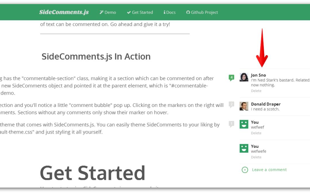 SideComments.js — комментарии сбоку от абзацев как в Google Docs