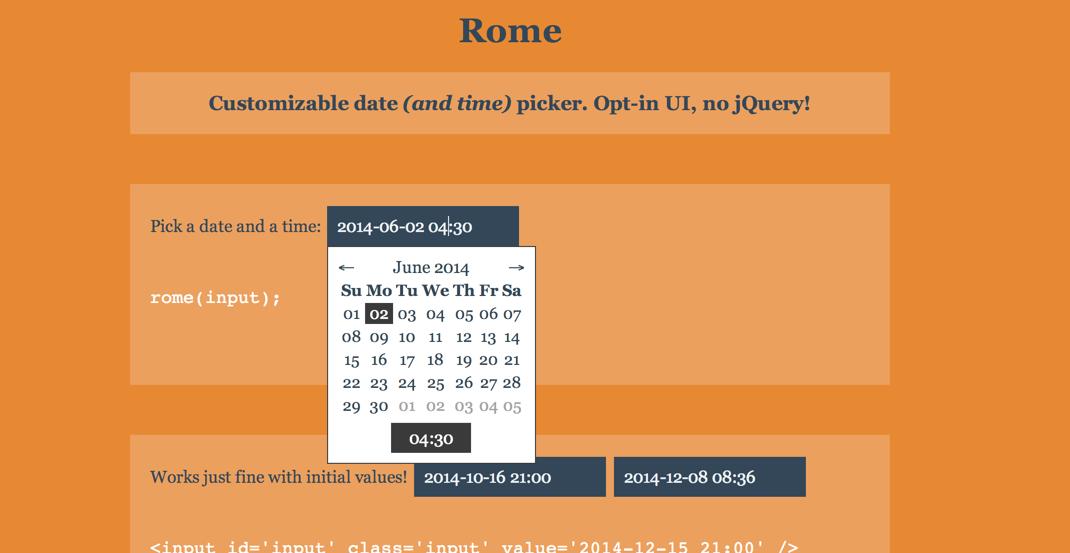 Rome — интересный тайм-пикер без зависимости от различных библиотек