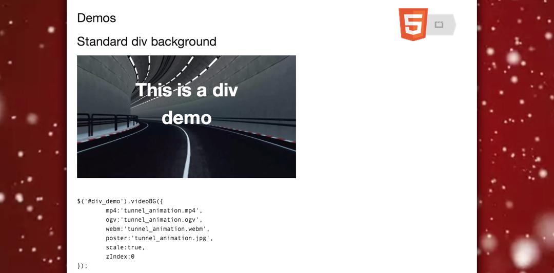 jquery.videoBG — делаем фон из видео как для страницы в целом, так и для отдельного элемента