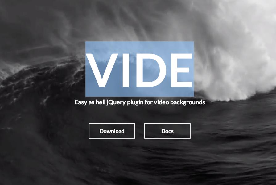 VIDE — jQuery плагин, которым можно добавить видео фон на сайт