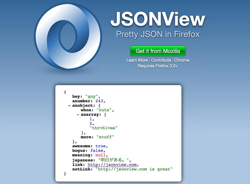 JSONView — отличное расширение для браузера, которое позволяет просматривать данные в формате JSON