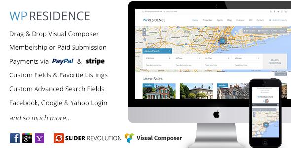 WP Residence — тема WordPress  для создания сайта агентства недвижимости (есть шаблоны страниц риелторов и поиска по карте)