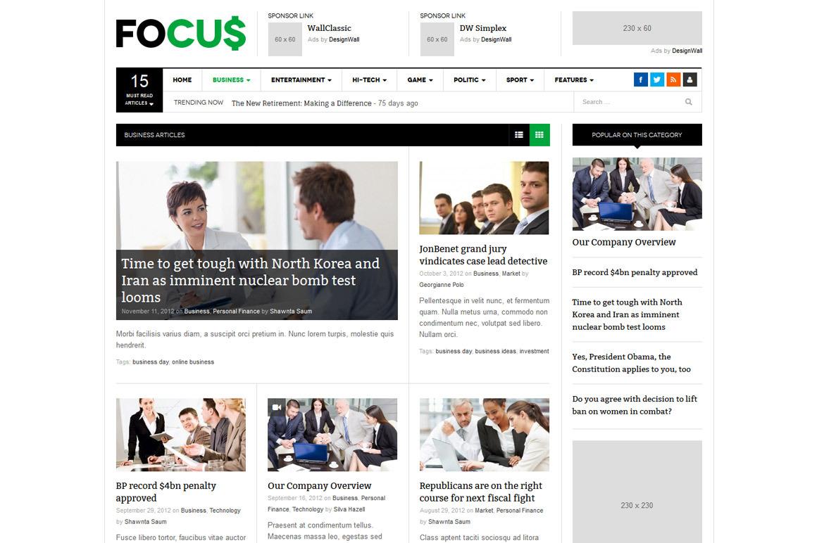 DW Focus — новостная тема для WordPress